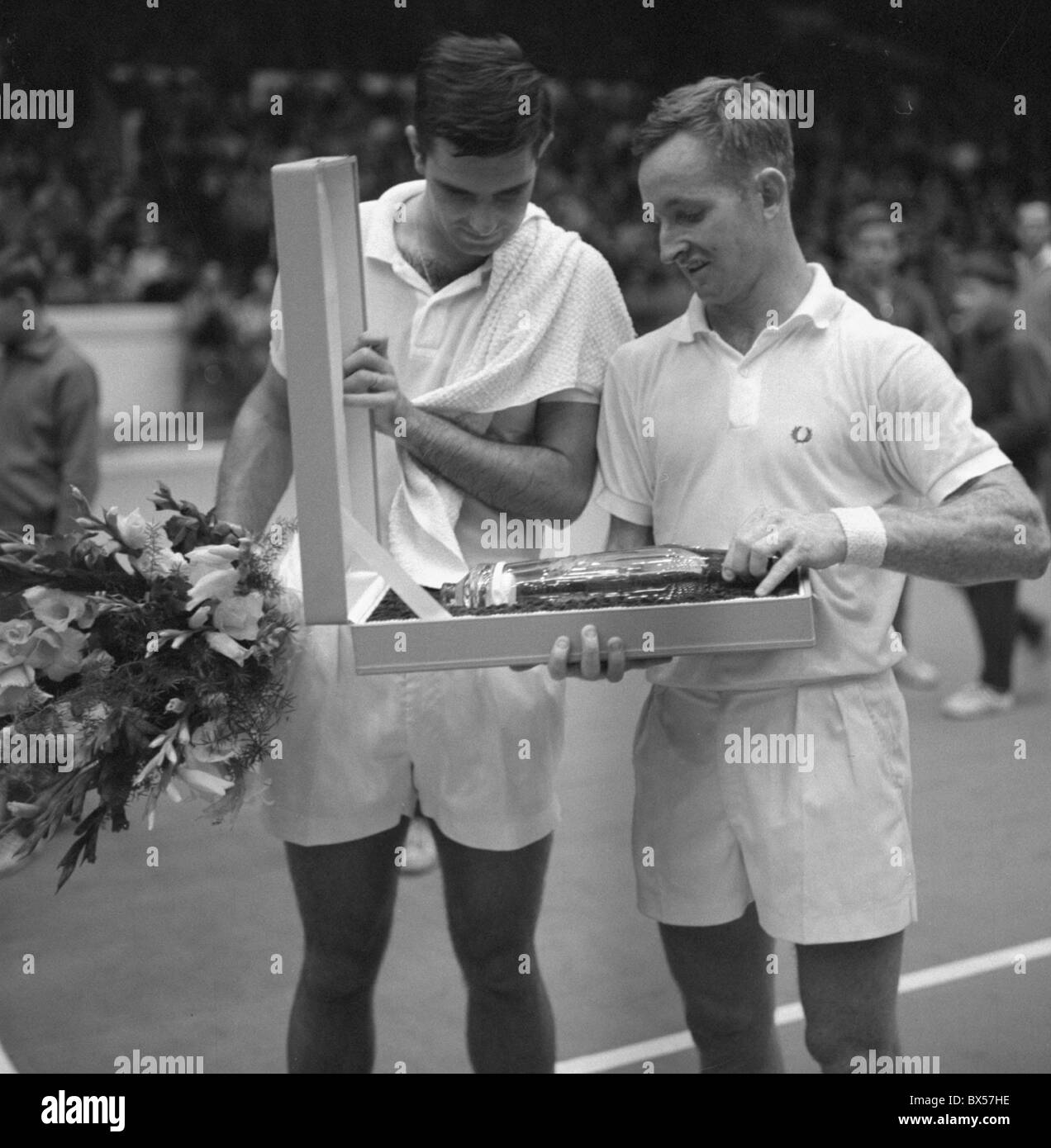Tennis players Butch Buchholz and Rod Laver Stock Royalty