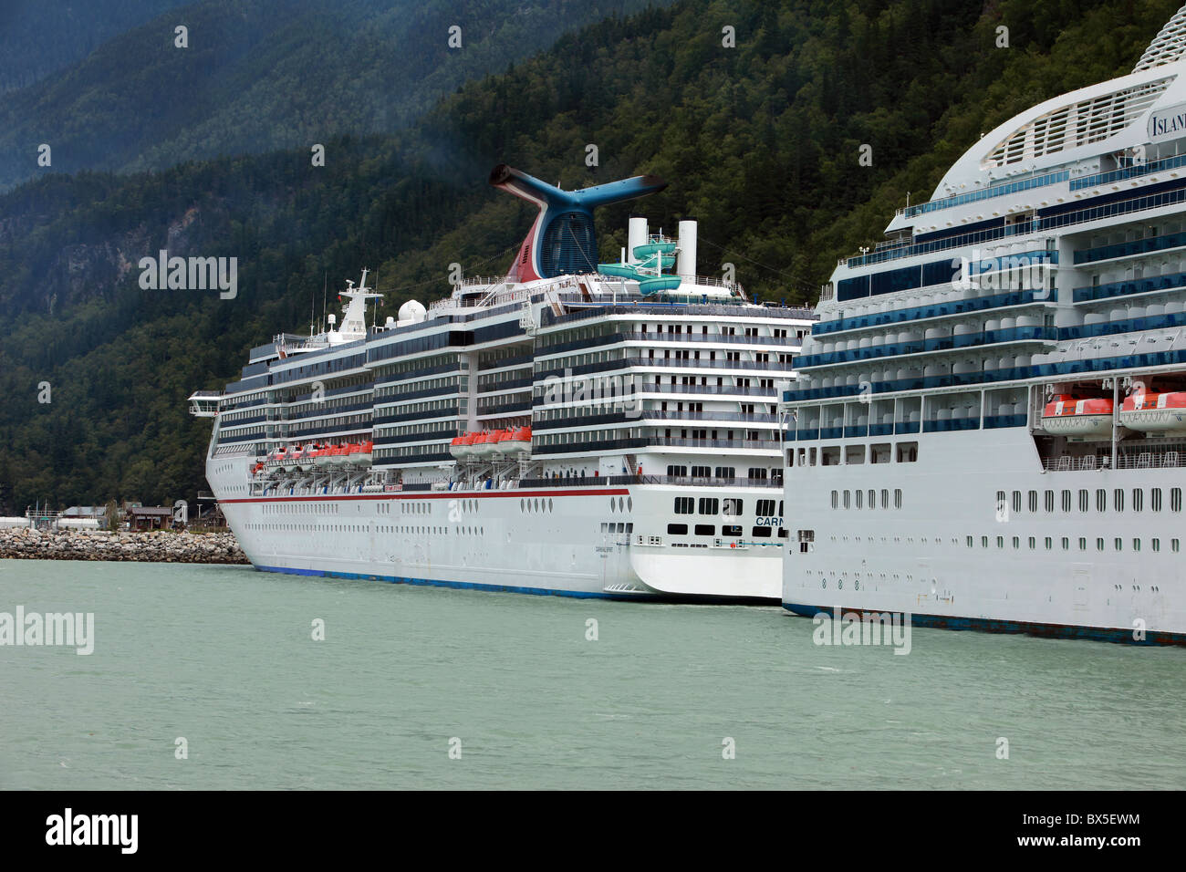 View Of Two Big Cruise Ships In Port After Traveling On Ocean In - Big cruise ship