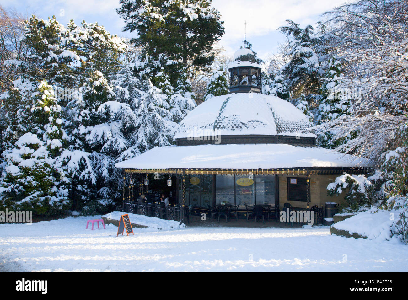 magnesia well cafe in valley gardens in winter harrogate north