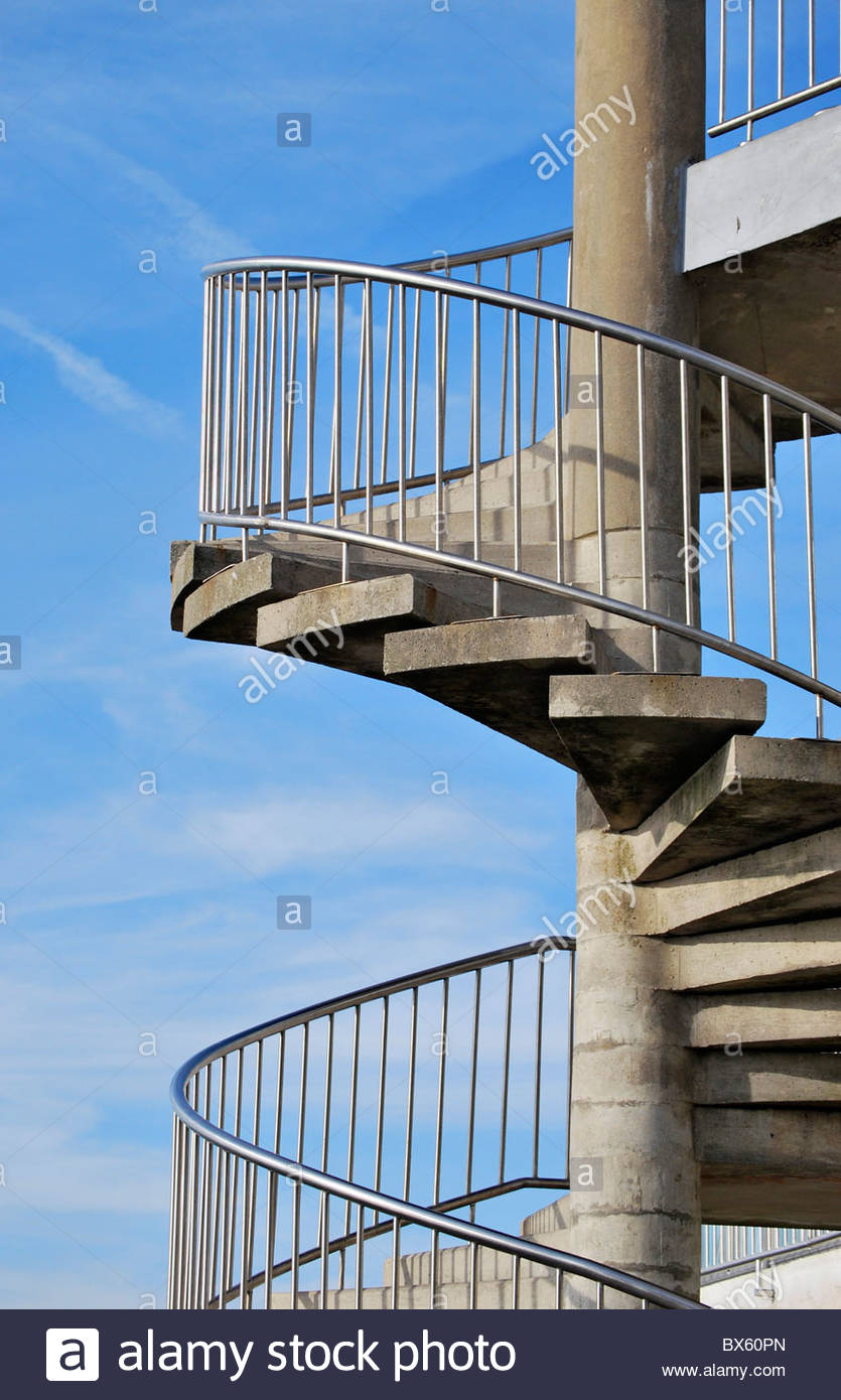 External Spiral Staircase. Architecture And Construction Concept