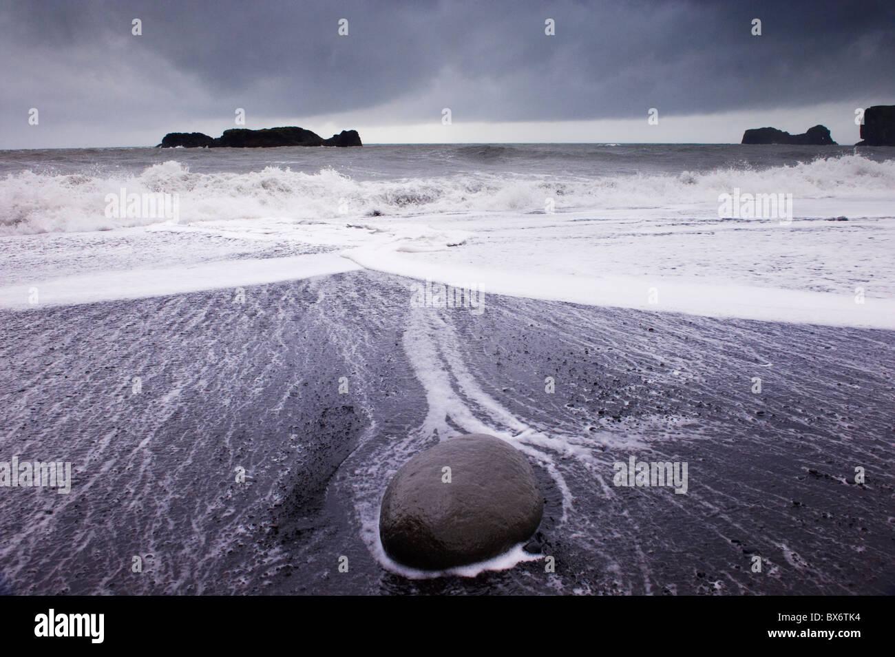Rough Sea On Reynisfjara Black Sand Beach Near Vik In