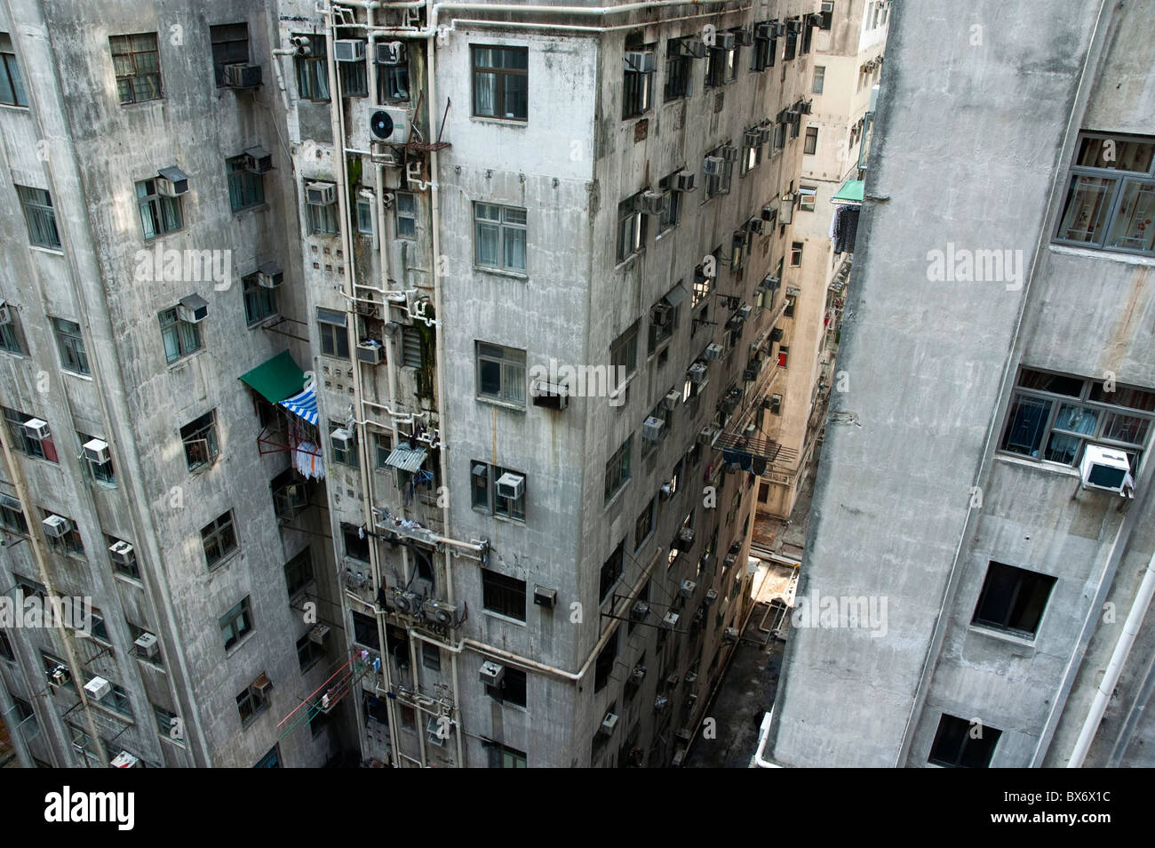 Old Run Down Concrete High Rise Apartment Buildings In