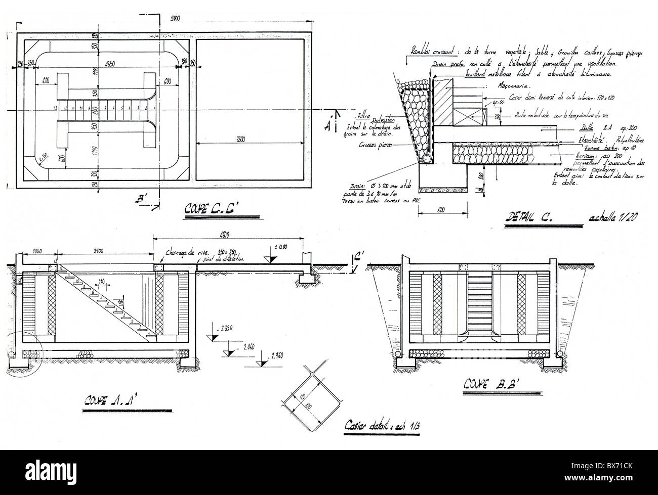 Detail of an architecture blueprint with explanations handwritten detail of an architecture blueprint with explanations handwritten in french malvernweather Images