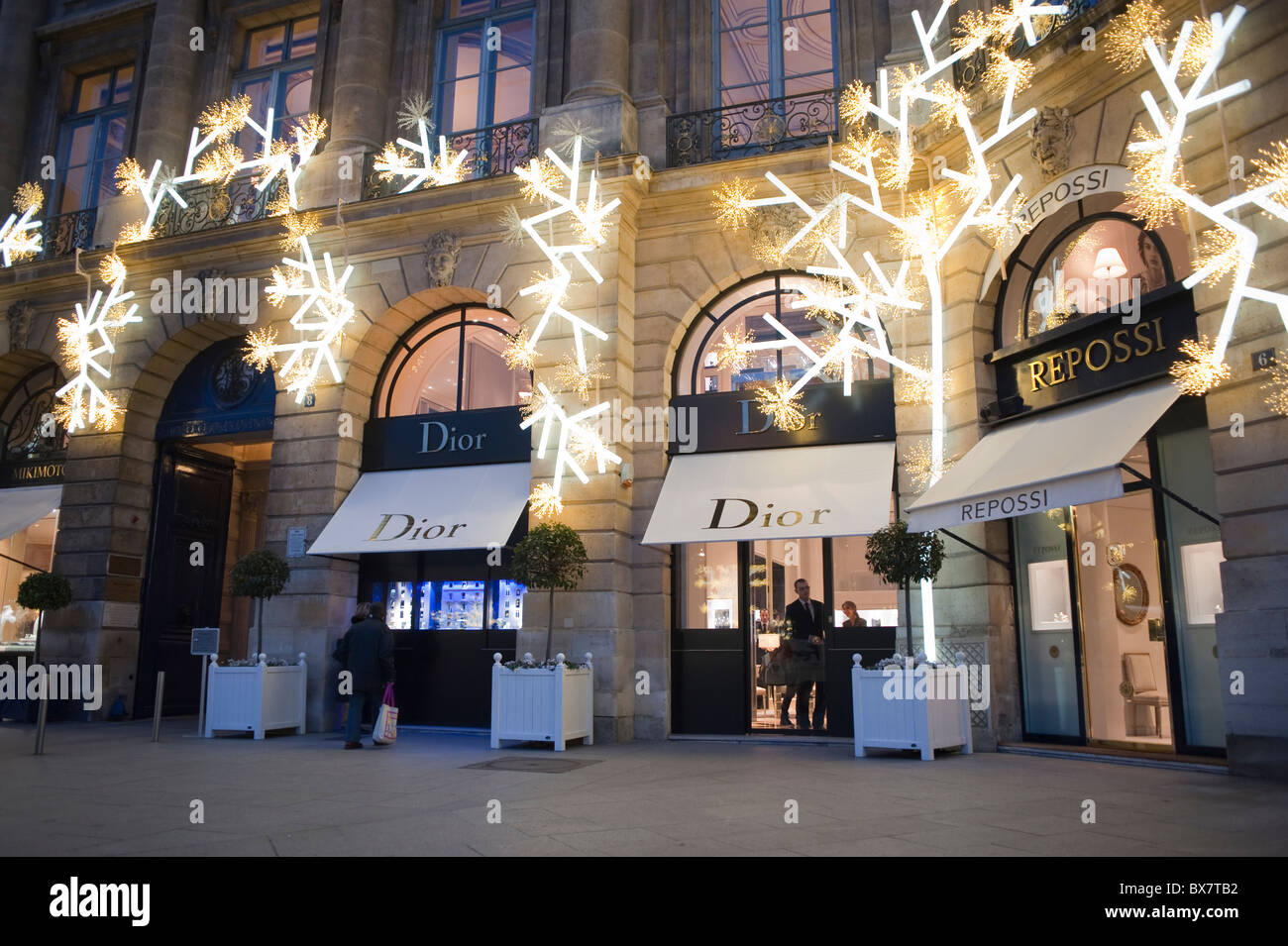 Paris France Luxury Christmas Shopping Dior Store