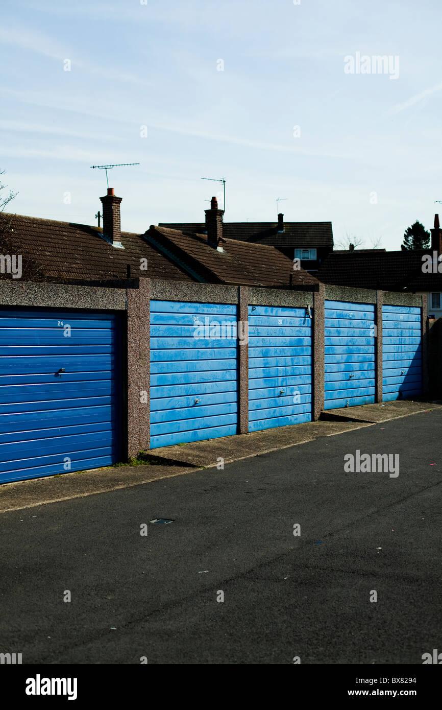 Blue garage doors on uk council estate stock photo royalty free blue garage doors on uk council estate rubansaba