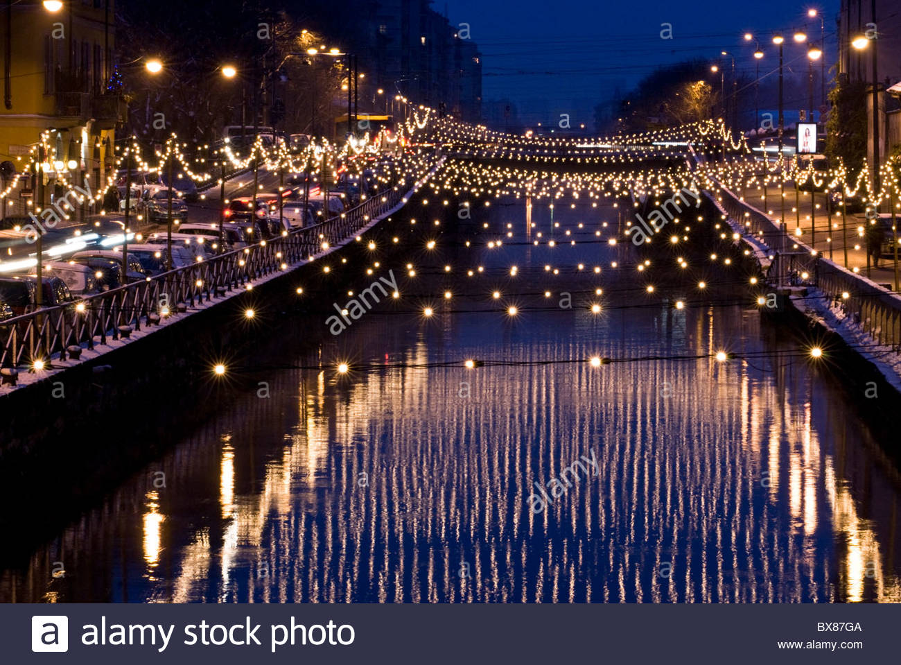 milan christmas lights on naviglio grande canal after a snowfall - Snowfall Christmas Lights