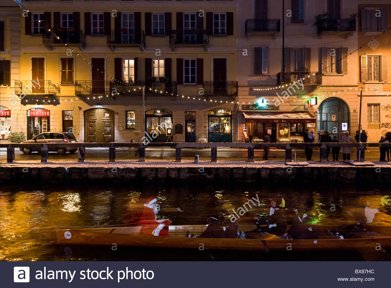 milan christmas lights on naviglio grande canal after a snowfall - Snowfall Christmas Lights
