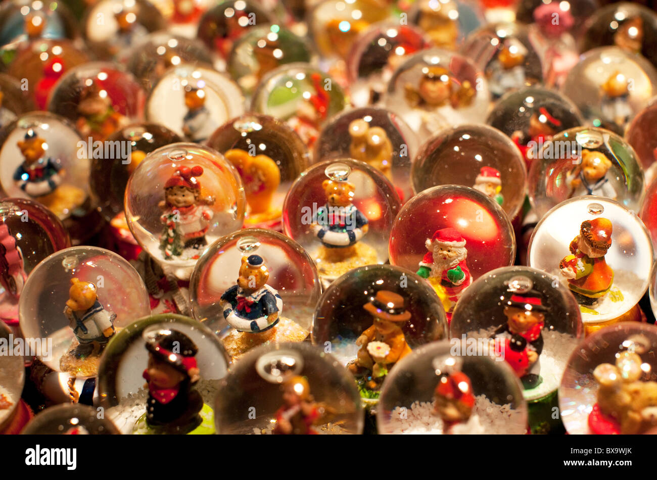 German christmas window decorations - Traditional German Christmas Ornaments Snow Globes At German Christmas Market In London Stock Image