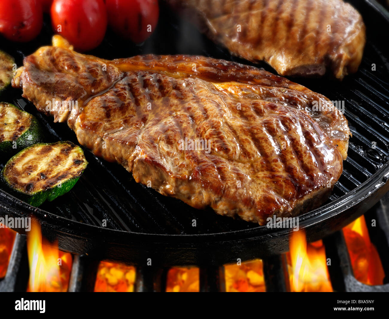 Sirloin Beef Steaks Tomatoes Being Pan Fried On A Bbq Meat Food Photos Pictures Images