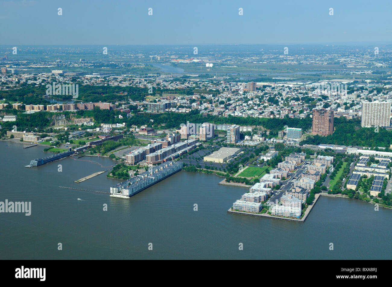 Aerial view of edgewater and back fairview new jersey usa