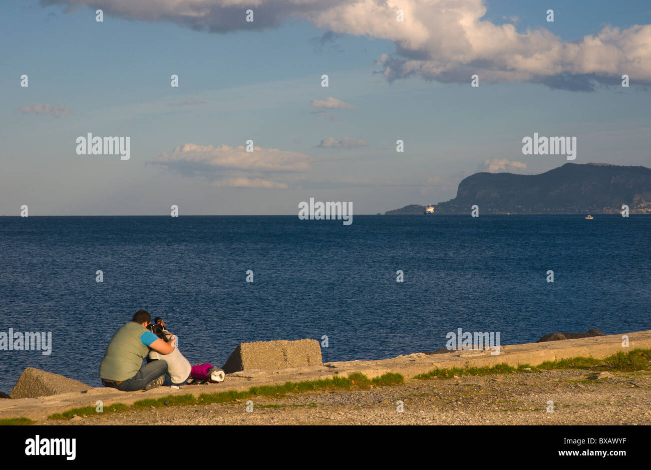 Couple at Terrazza a mare park by the sea Palermo Sicily Italy ...
