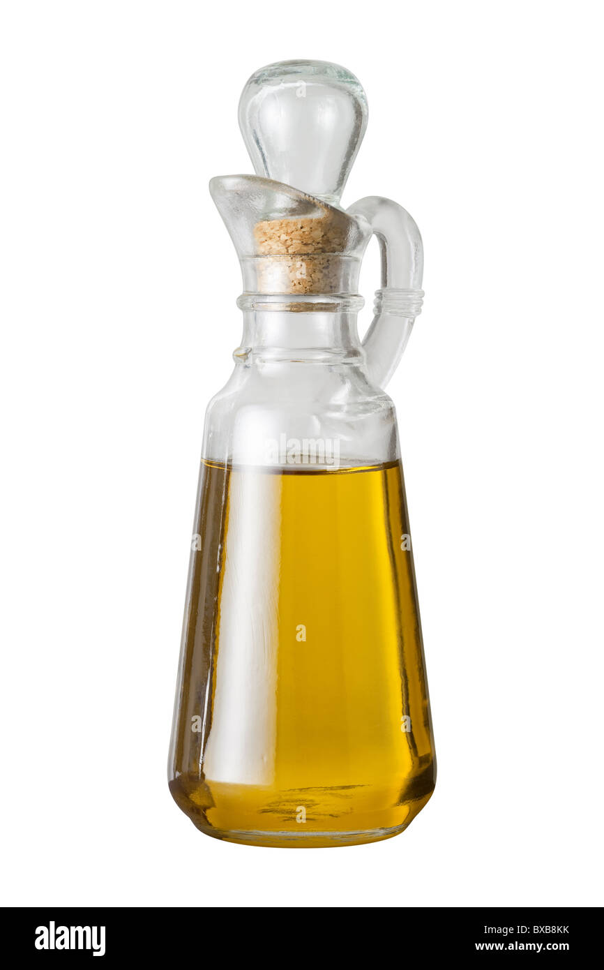 olive oil cruet isolated on a white background stock photo  - olive oil cruet isolated on a white background