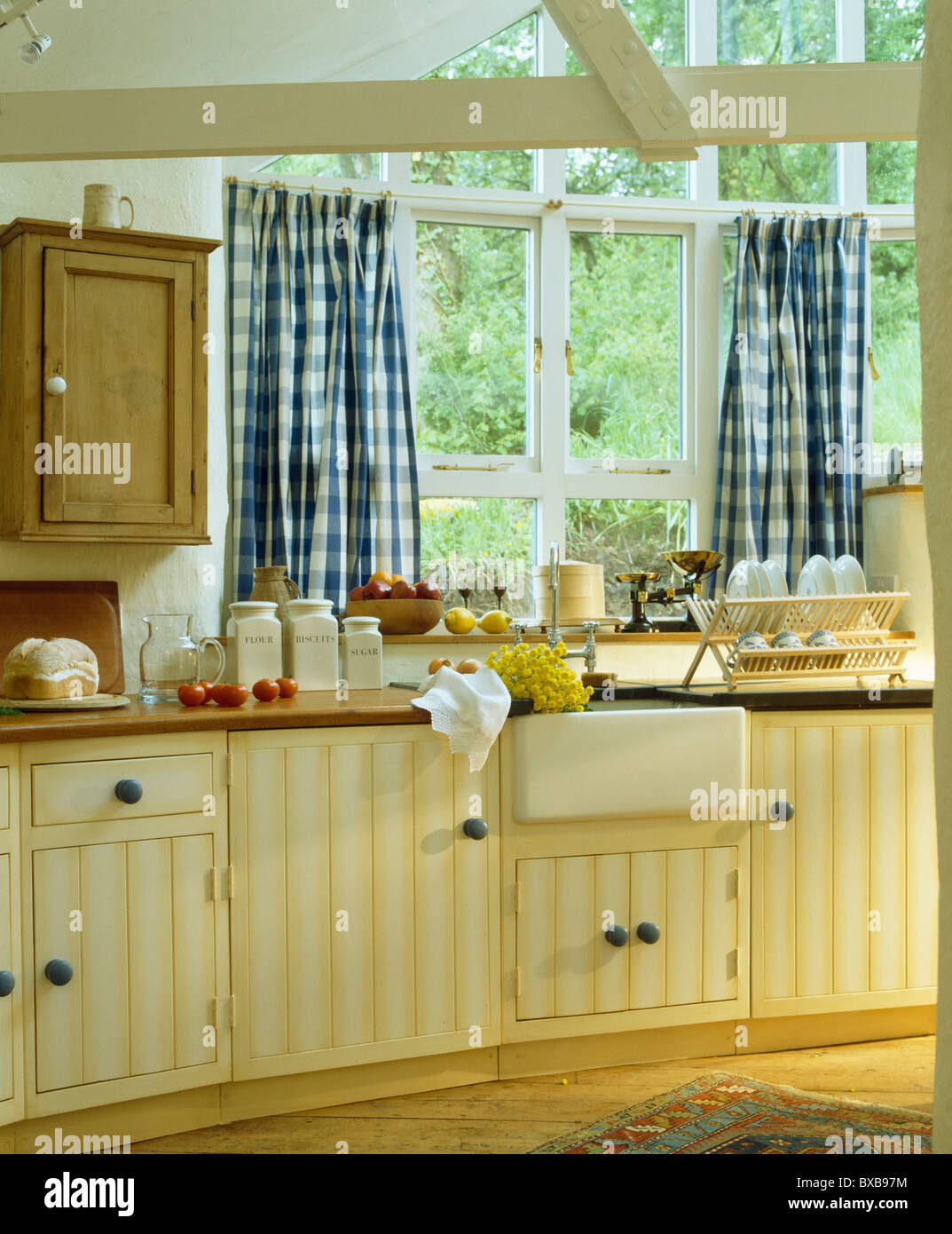 Curtains For Kitchen Window Above Sink Part - 24: Blue+white Checked Curtains On Window Above Sink In Cottage Kitchen  Extension With Pale Yellow Fitted Units