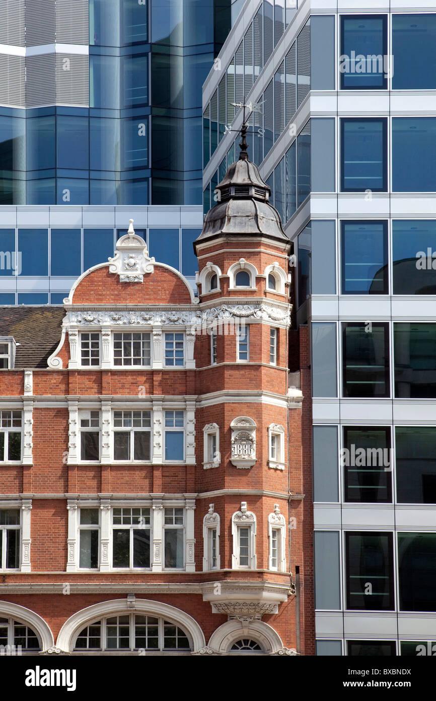 Modern Architecture London England victorian-style brick building and modern architecture in london