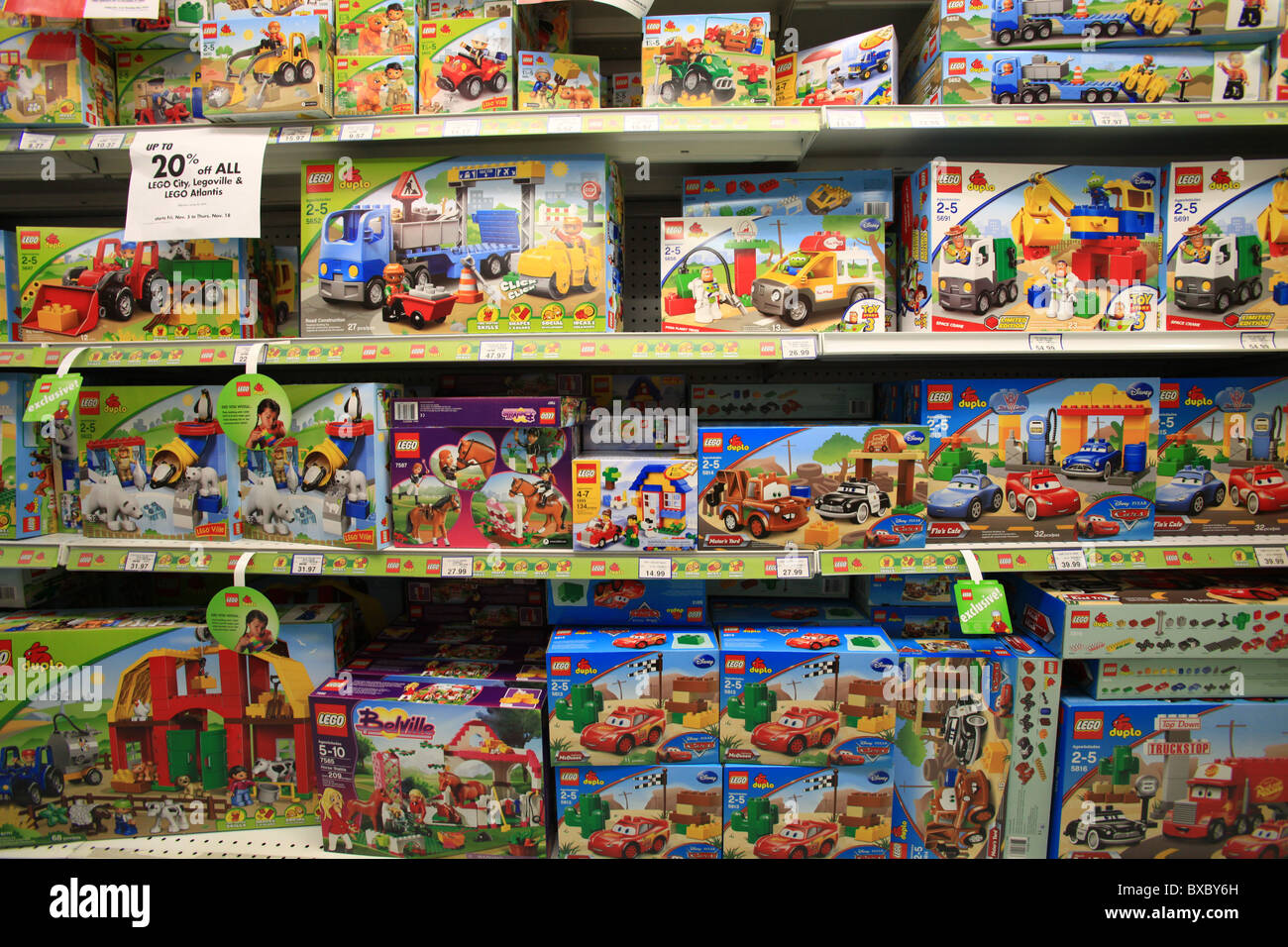 Lego vehicles on sale in Toys R Us store, Ontario, Canada Stock ...