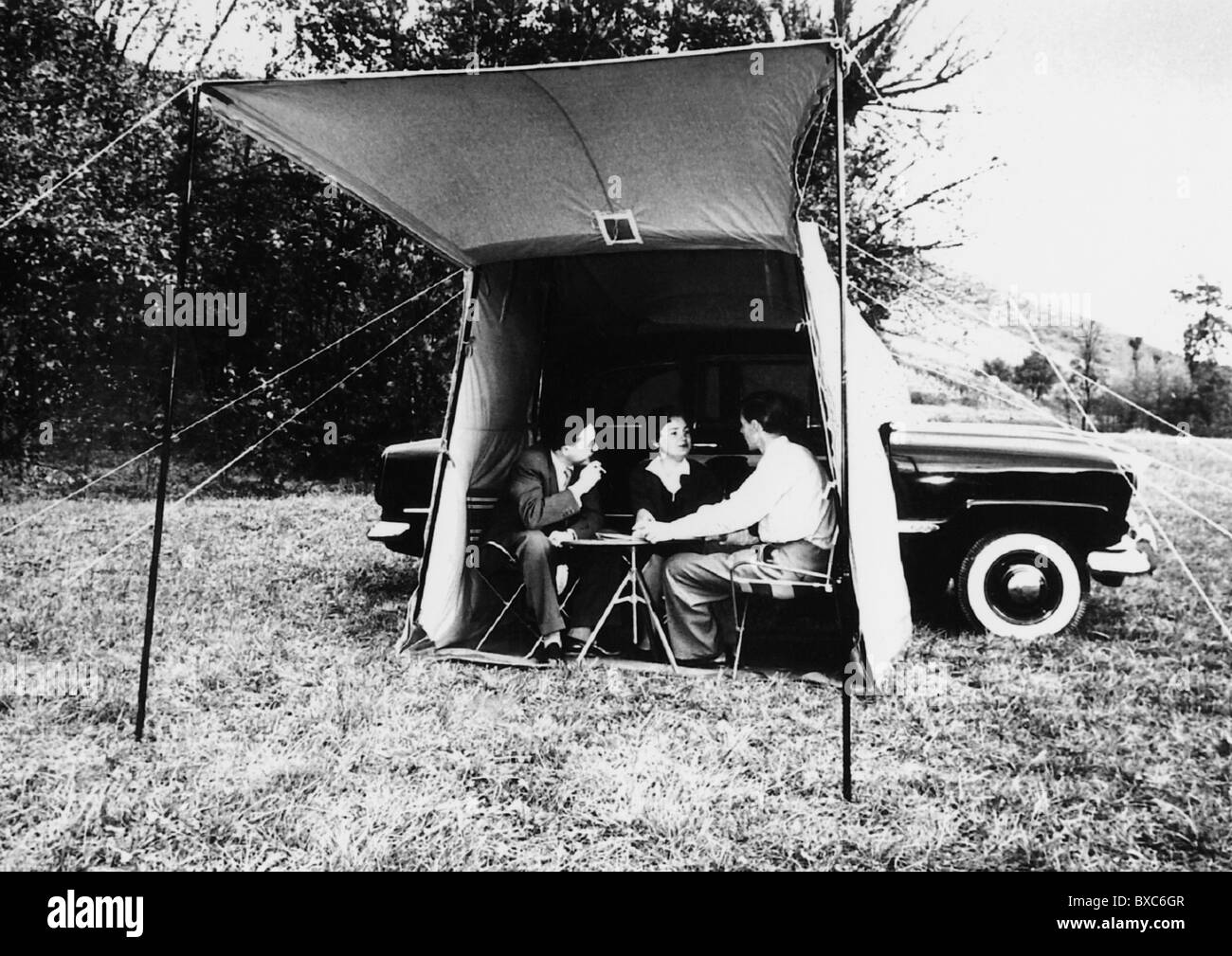 tourism c&ing teenager in a tent 1955 1950s 50s 20th century historic historical awning canopy canopies car cars & tourism camping teenager in a tent 1955 1950s 50s 20th ...