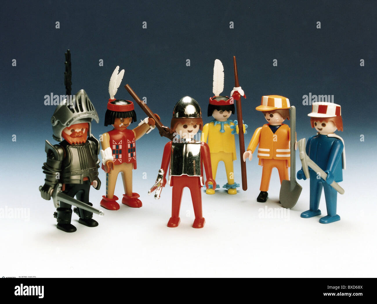 Toys Playmobil Figures Knights Red Indian Construction Worker 1970s 70s 20th Century Historic Historical Nuremberg T