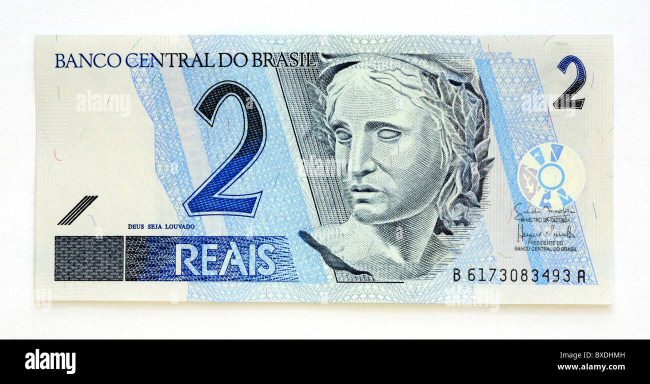 Brazil Brasil 2 Two Reais Bank Note Stock Photo, Royalty ...