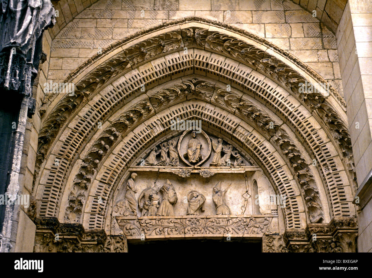Tympanum Notre Dame Cathedral French Gothic Architecture City Of Rouen Upper Normandy France Europe