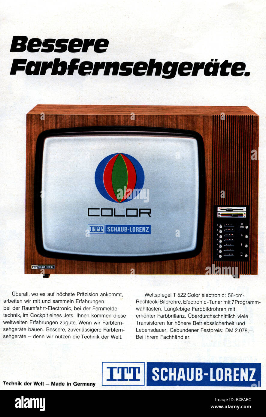 advertising television advert for itt schaub lorenz colour tv sets stock photo royalty free. Black Bedroom Furniture Sets. Home Design Ideas