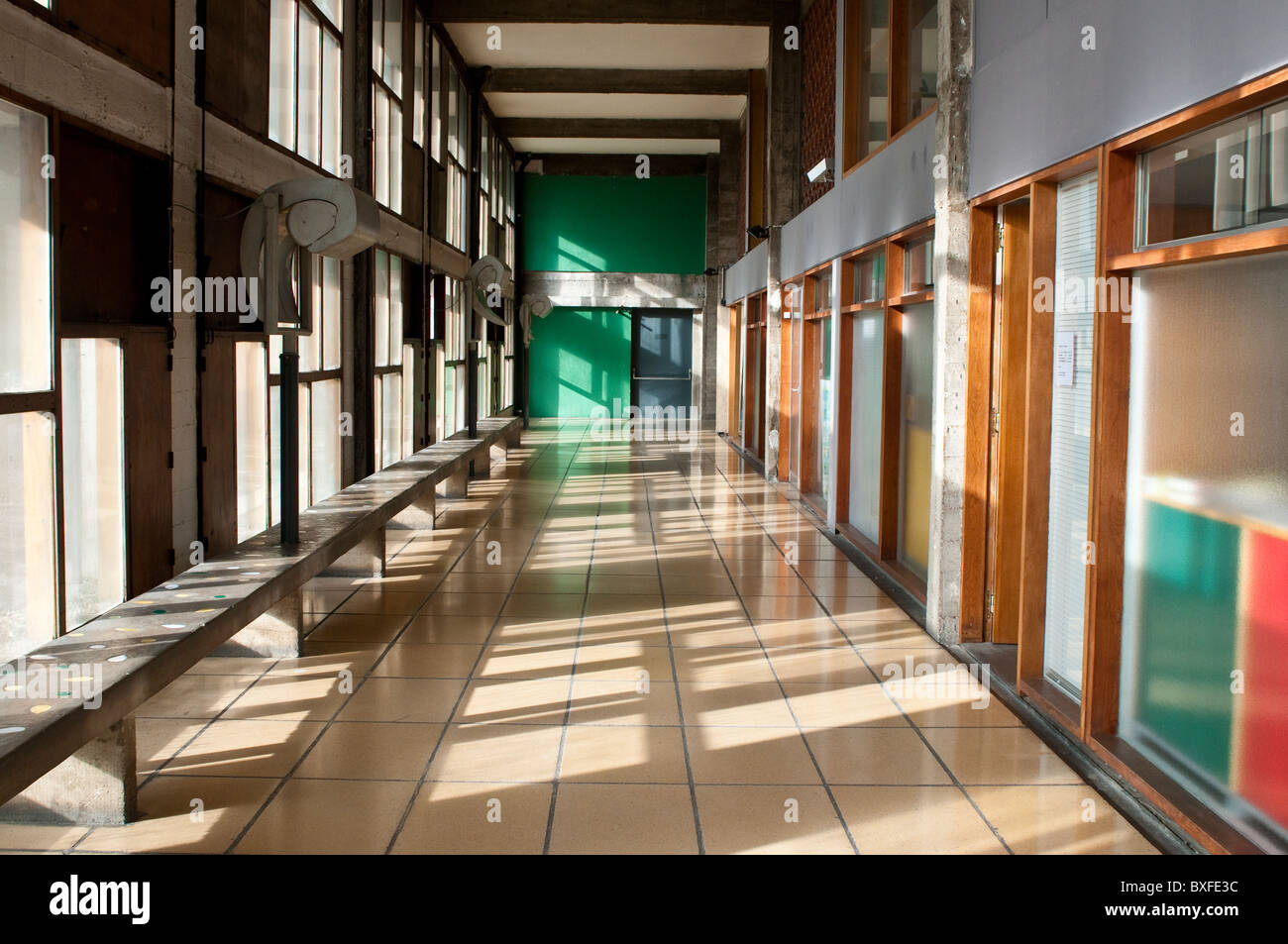 corridor unite d 39 habitation by le corbusier marseille france stock photo 33531776 alamy. Black Bedroom Furniture Sets. Home Design Ideas
