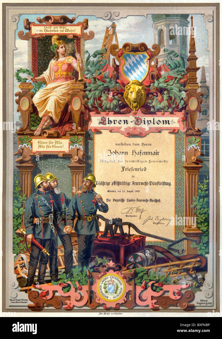documents honorary diploma for johann hafenmair member of the  documents honorary diploma for johann hafenmair member of the auxiliary fire brigade friesenried bavaria lithograp