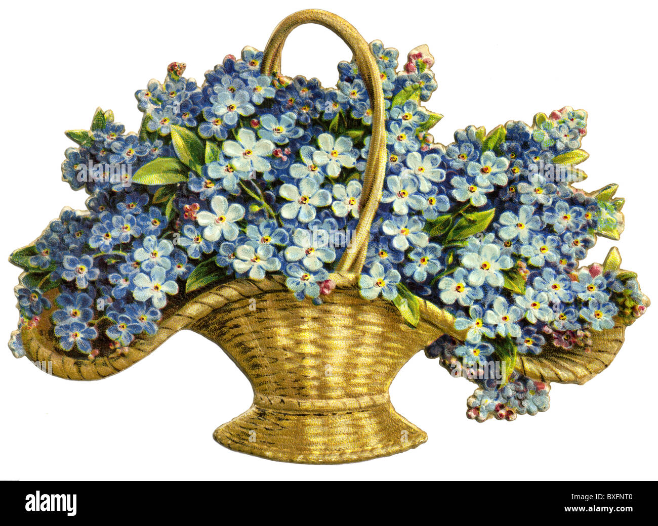 Flower Baskets Photos : Kitsch flower basket with forget me not germany circa