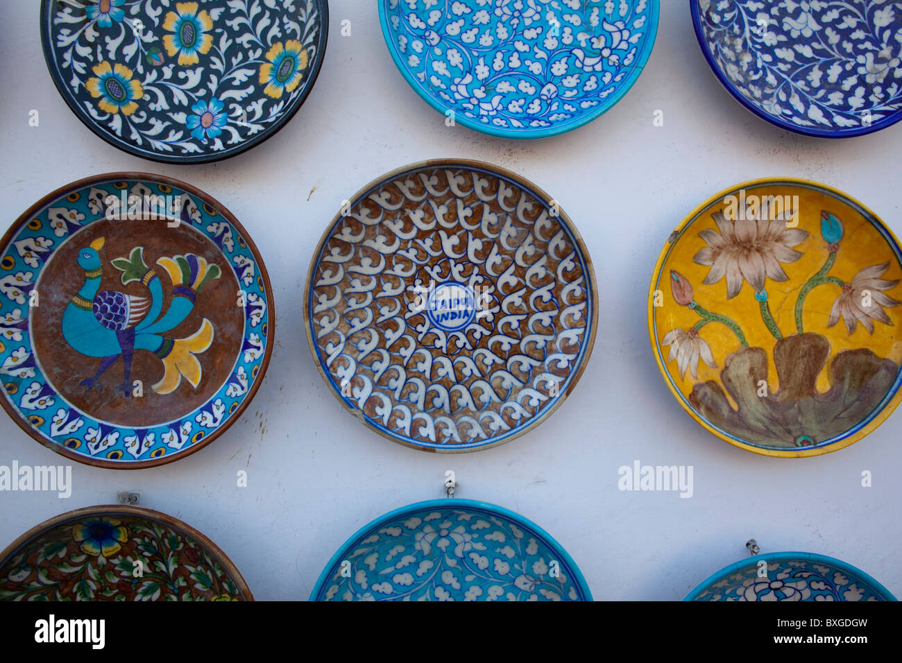 Plates on a market stall, Old City, Jaipur, Rajasthan, India Stock ...