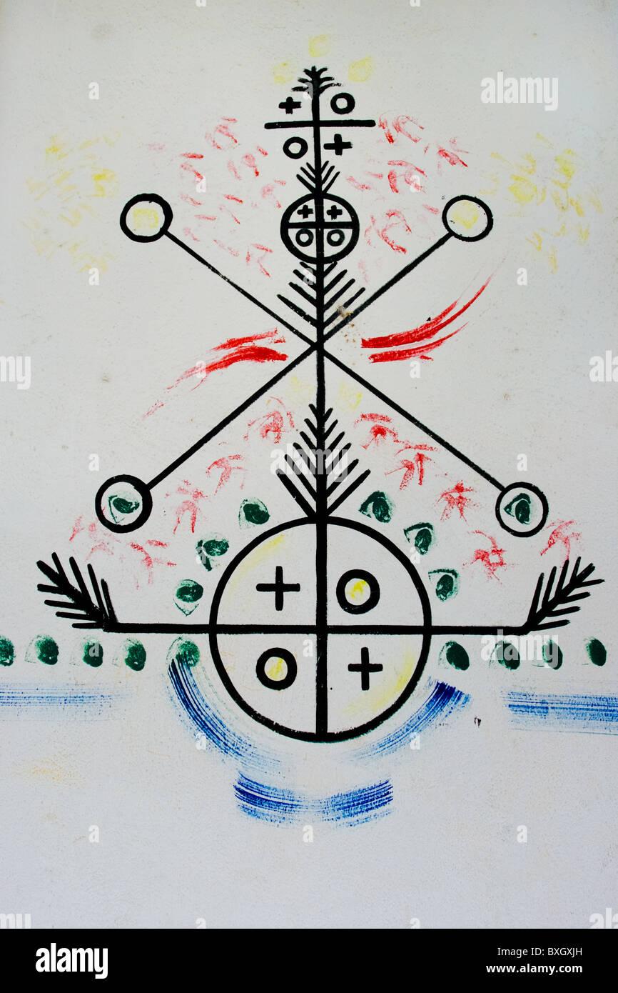 A mythological symbol from the afro cuban religious tradition a mythological symbol from the afro cuban religious tradition drawn on the wall in santiago de cuba cuba biocorpaavc