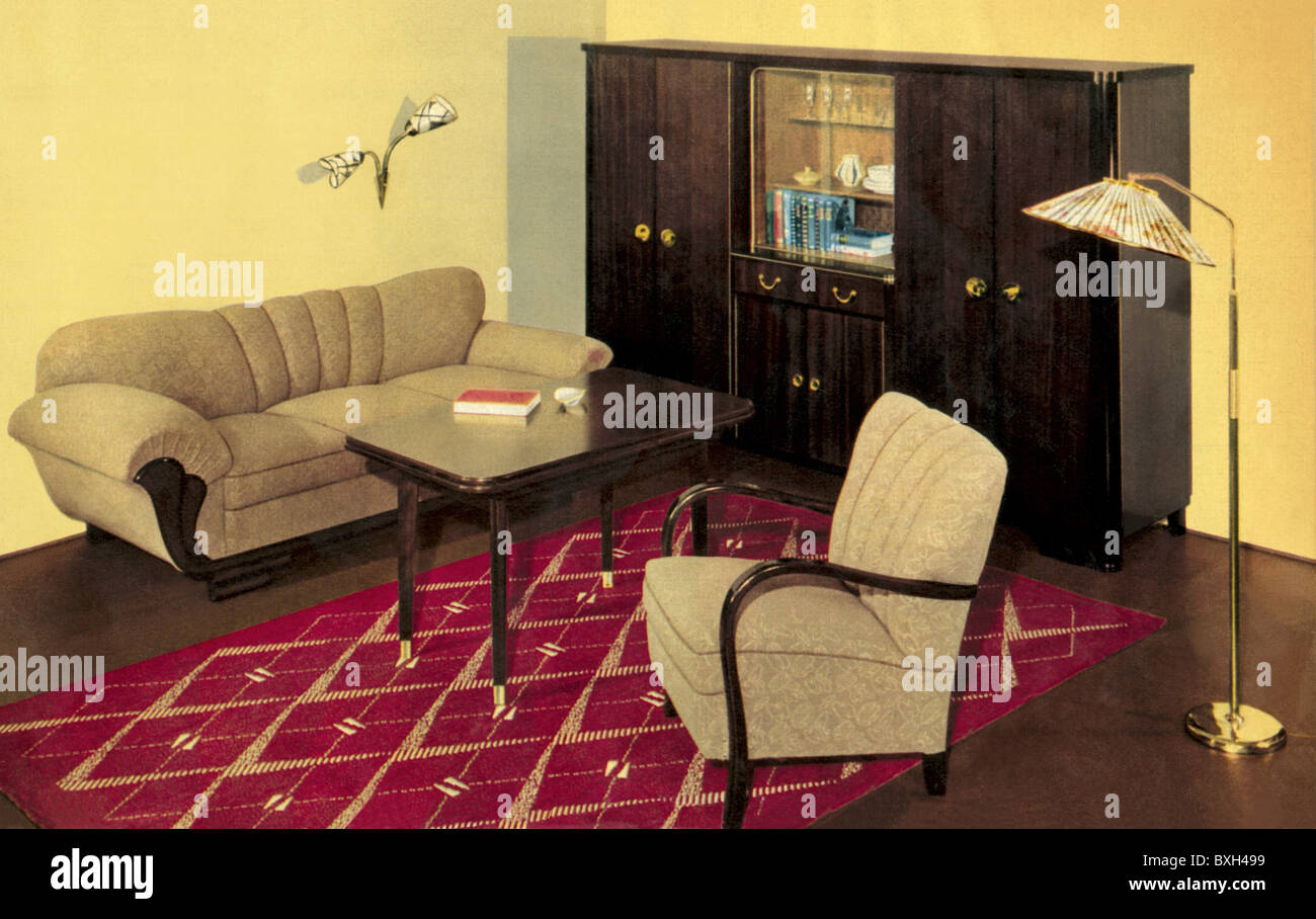 furniture living room upholstery germany circa 1956 1950s 50s stock photo royalty free. Black Bedroom Furniture Sets. Home Design Ideas