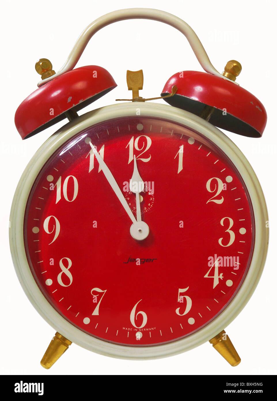 clocks alarm clock five minutes before twelve germany circa 1978 stock photo royalty free. Black Bedroom Furniture Sets. Home Design Ideas