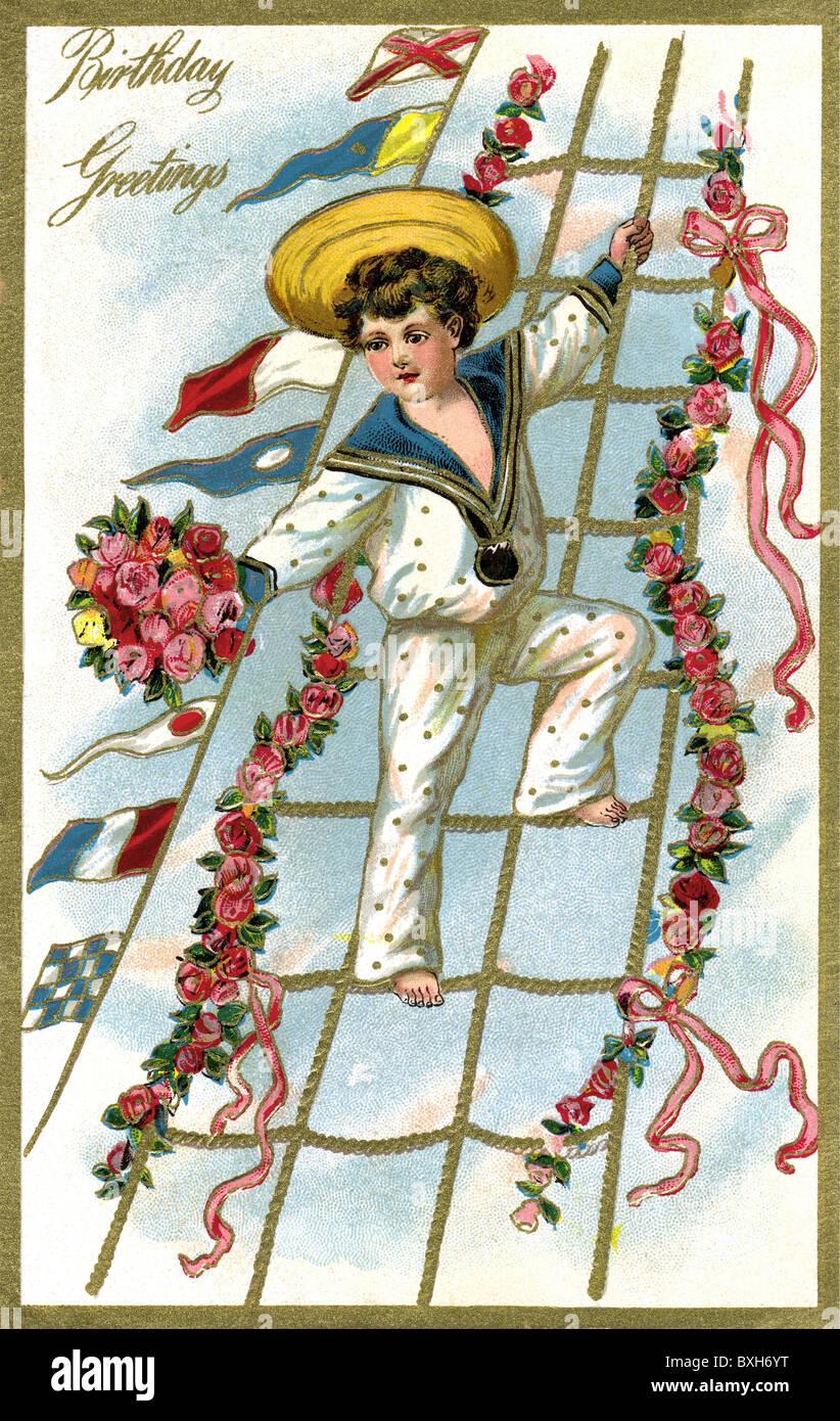 kitsch souvenir birthday card child as sailor in shroud – Birthday Cards Usa