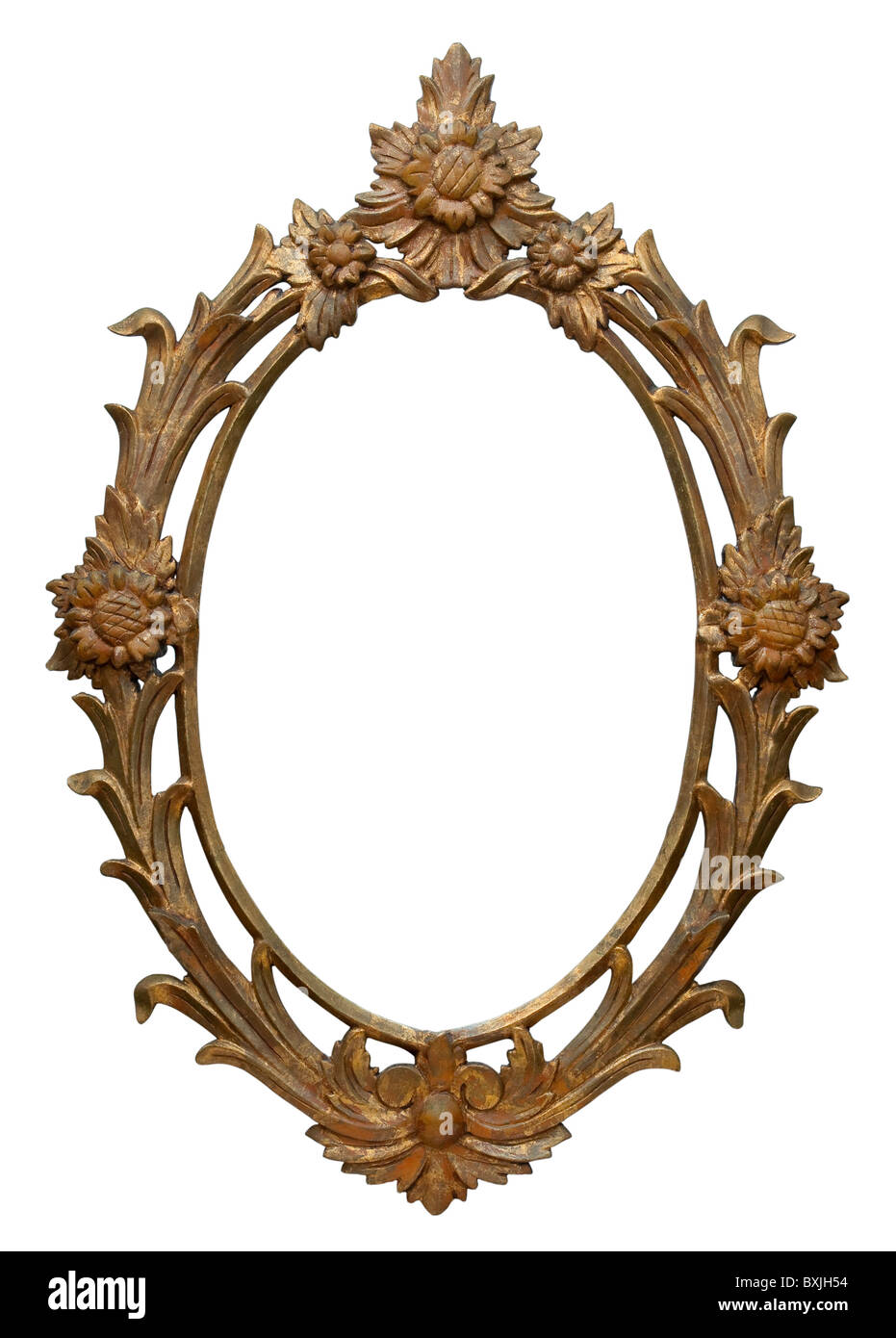 Wooden photo frame golden vintage oval with flowers isolated with wooden photo frame golden vintage oval with flowers isolated with clipping path jeuxipadfo Gallery