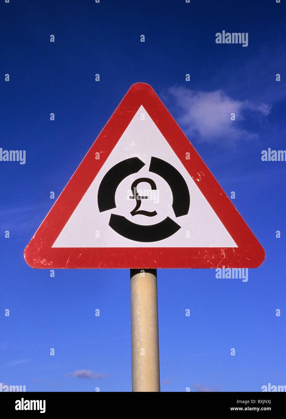 Conceptual image of uk sterling pound symbol in middle of roadsign conceptual image of uk sterling pound symbol in middle of roadsign warning of roundabout ahead uk buycottarizona