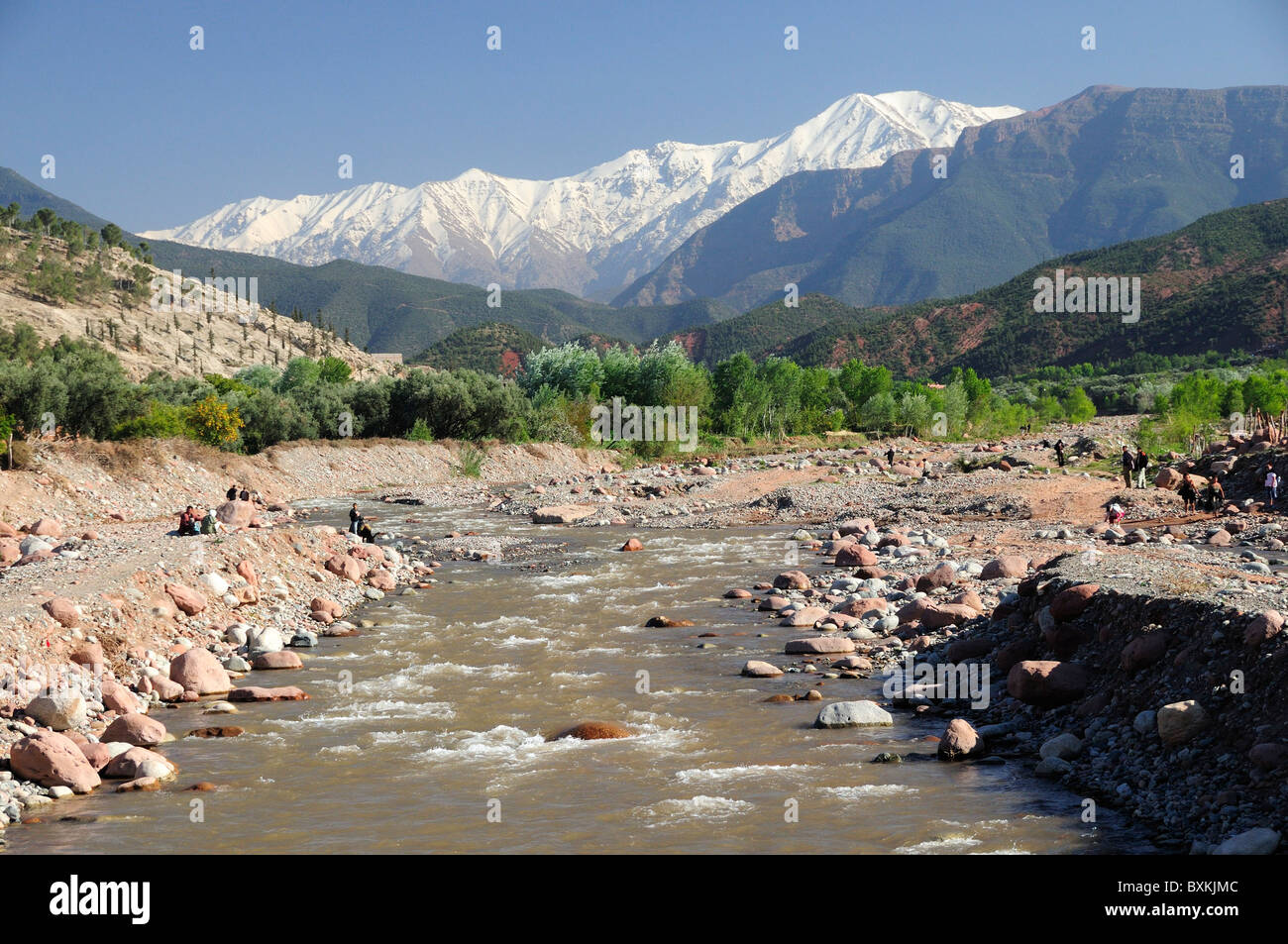 Ourika River At Tnine With Snow Capped Atlas Mountains Ourika - Atlas river