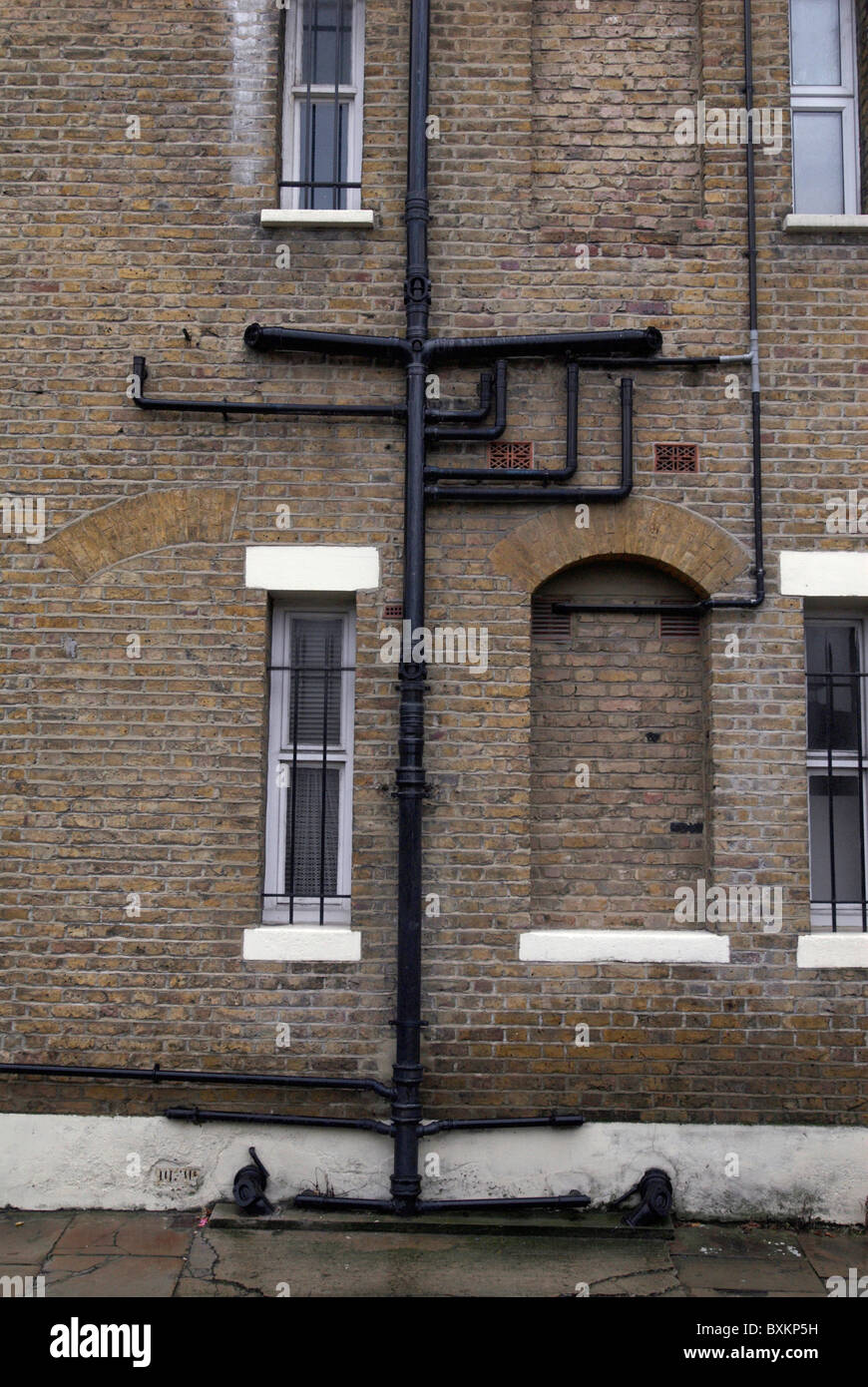 Cast iron drainpipes and guttering on a victorian building