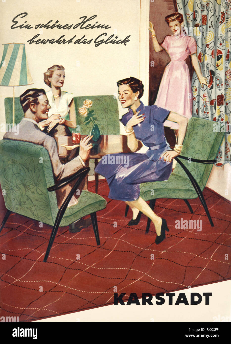 furniture, living-room, upholstery, Germany, circa 1956, 1950s, 50s ...