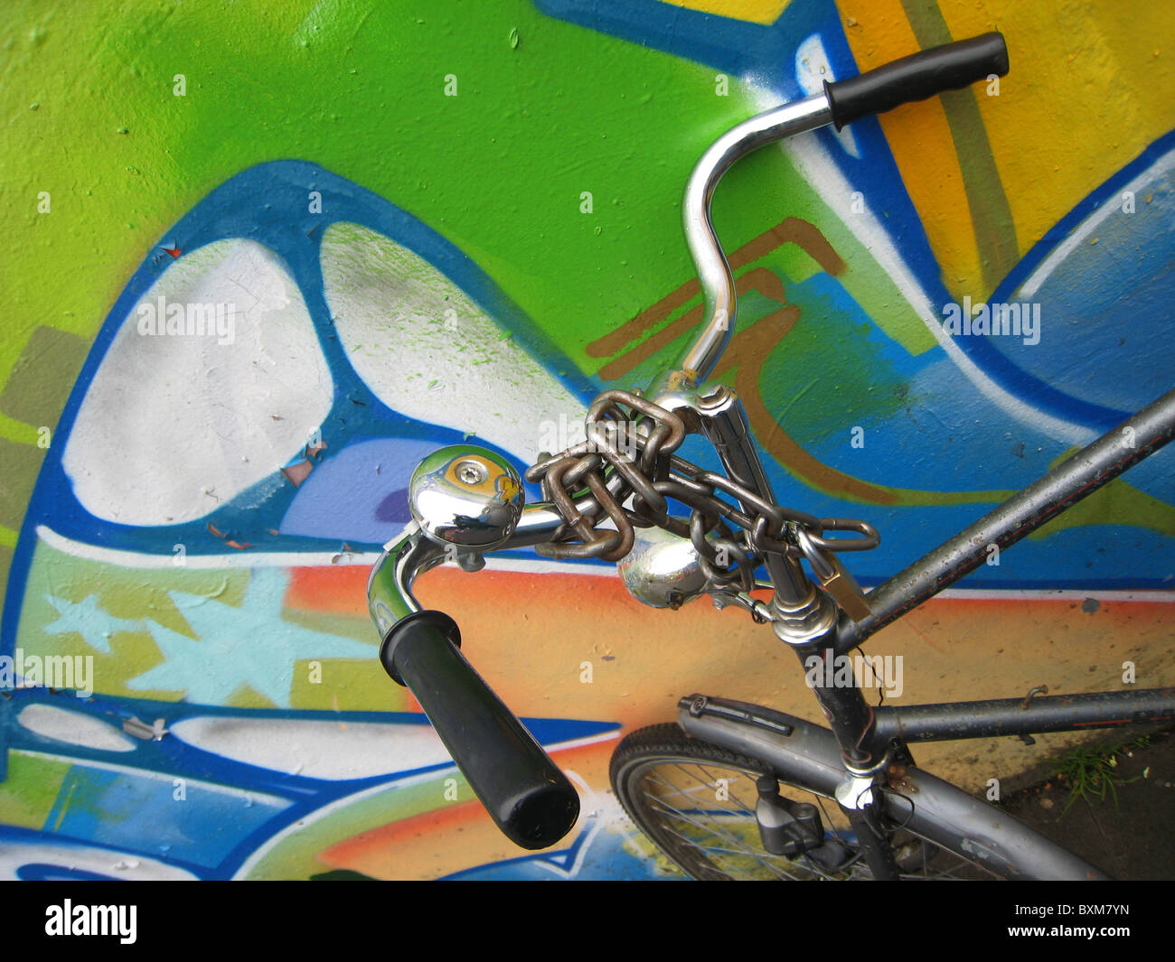 Graffiti wall utrecht - Stock Photo Artistic Graffiti Covered Wall With Bicycle In Utrecht Netherlands