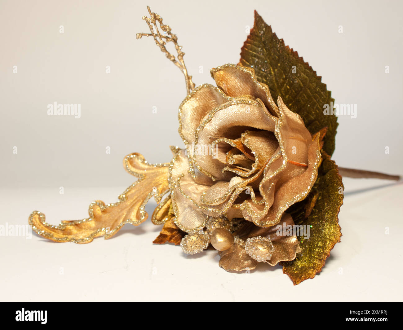 Artificial silk christmas flower gold rose stock photo royalty free artificial silk christmas flower gold rose mightylinksfo