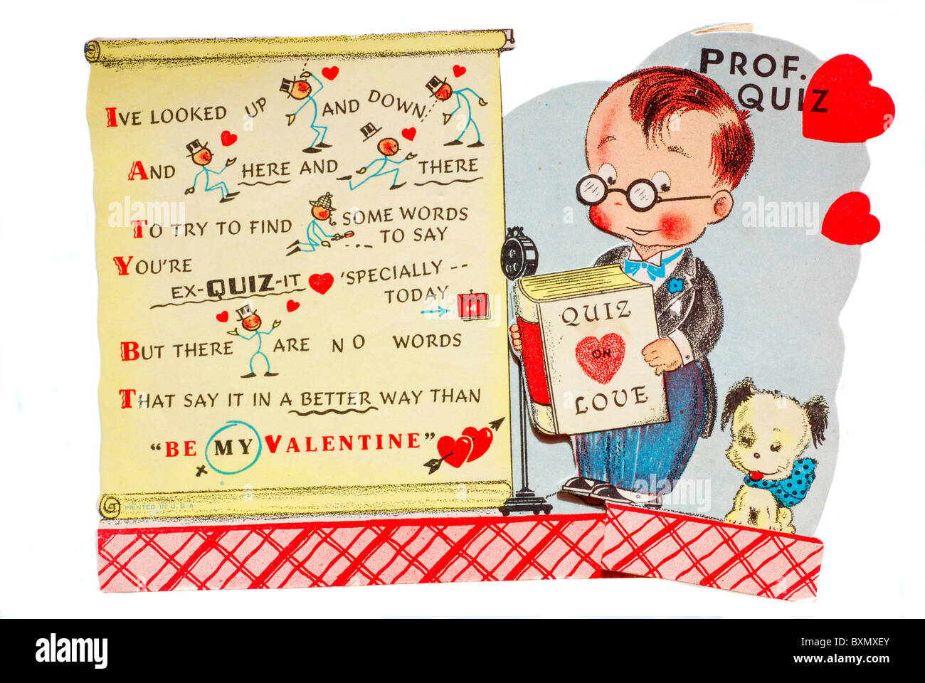 vintage valentines day card with professor quiz verified in public domain