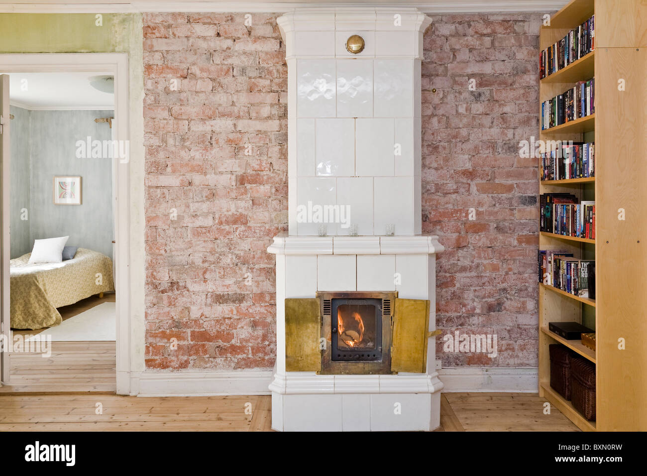 Modern ceramic tiled stove sweden stock photo 33653085 alamy modern ceramic tiled stove sweden dailygadgetfo Choice Image