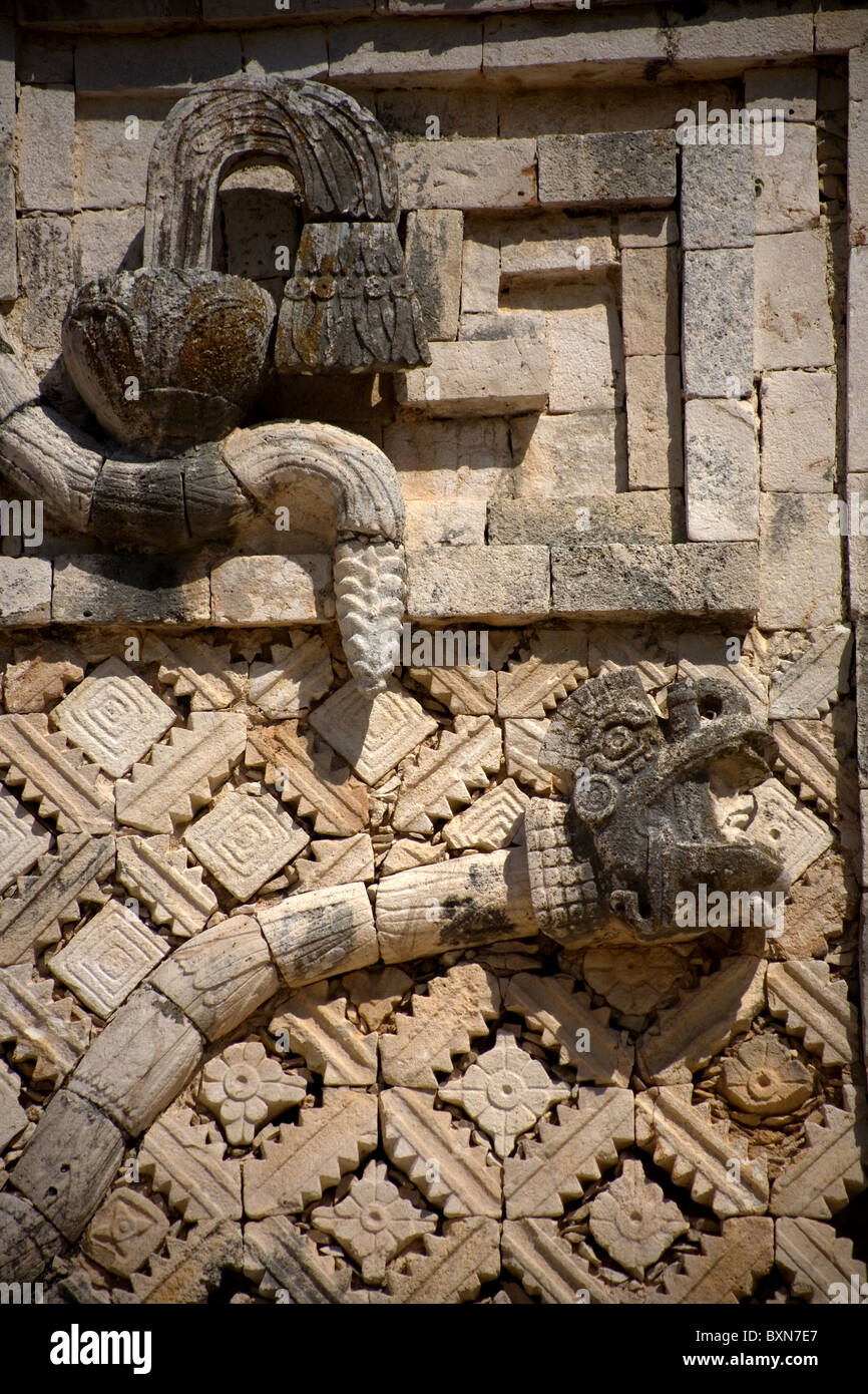 A sculpture of a serpent representing god Kukulkan in the ...