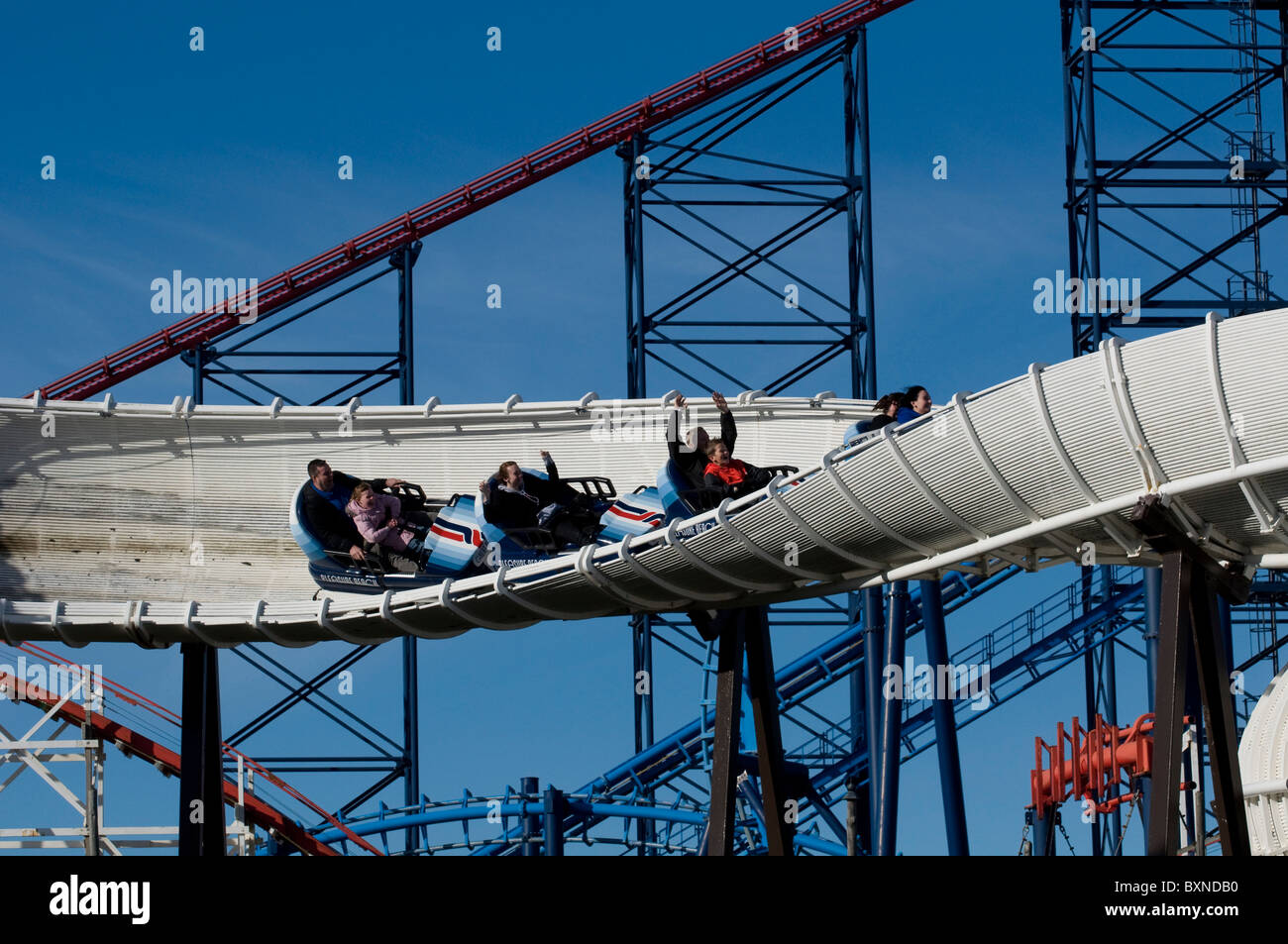 The Avalanche And Pepsi Max Big One Roller Coasters At Blackpool Pleasure Beach Fairground England