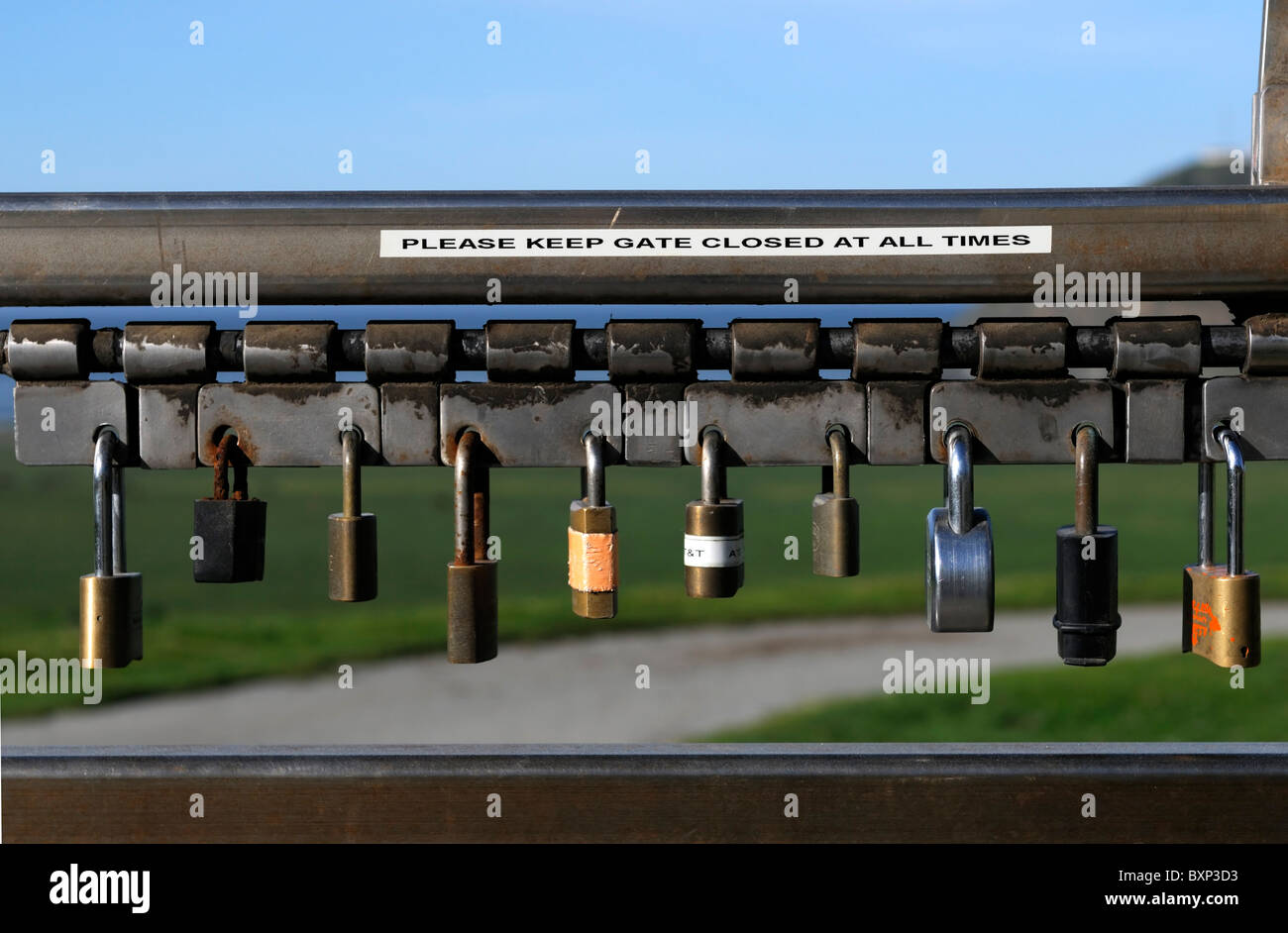 Line row of locked padlocks padlock lock locks on a gate