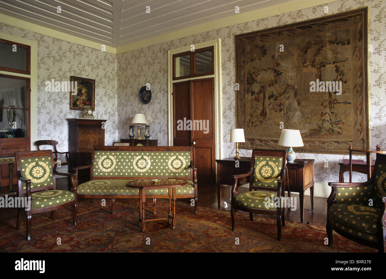 salon living room or interior of riche en eau colonial sugar stock photo royalty free image. Black Bedroom Furniture Sets. Home Design Ideas