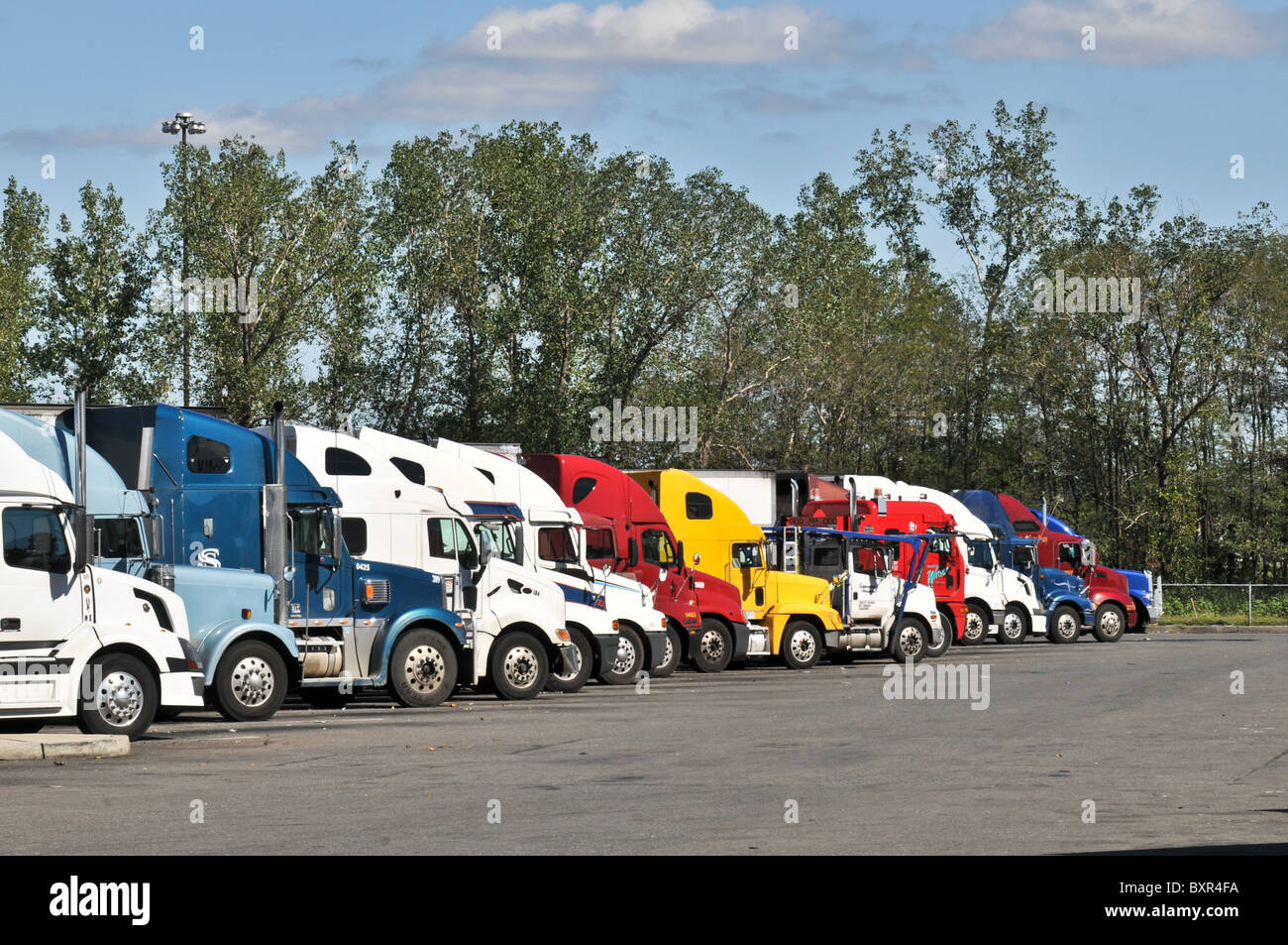 colorful semi trucks at new jersey truck stop stock photo royalty