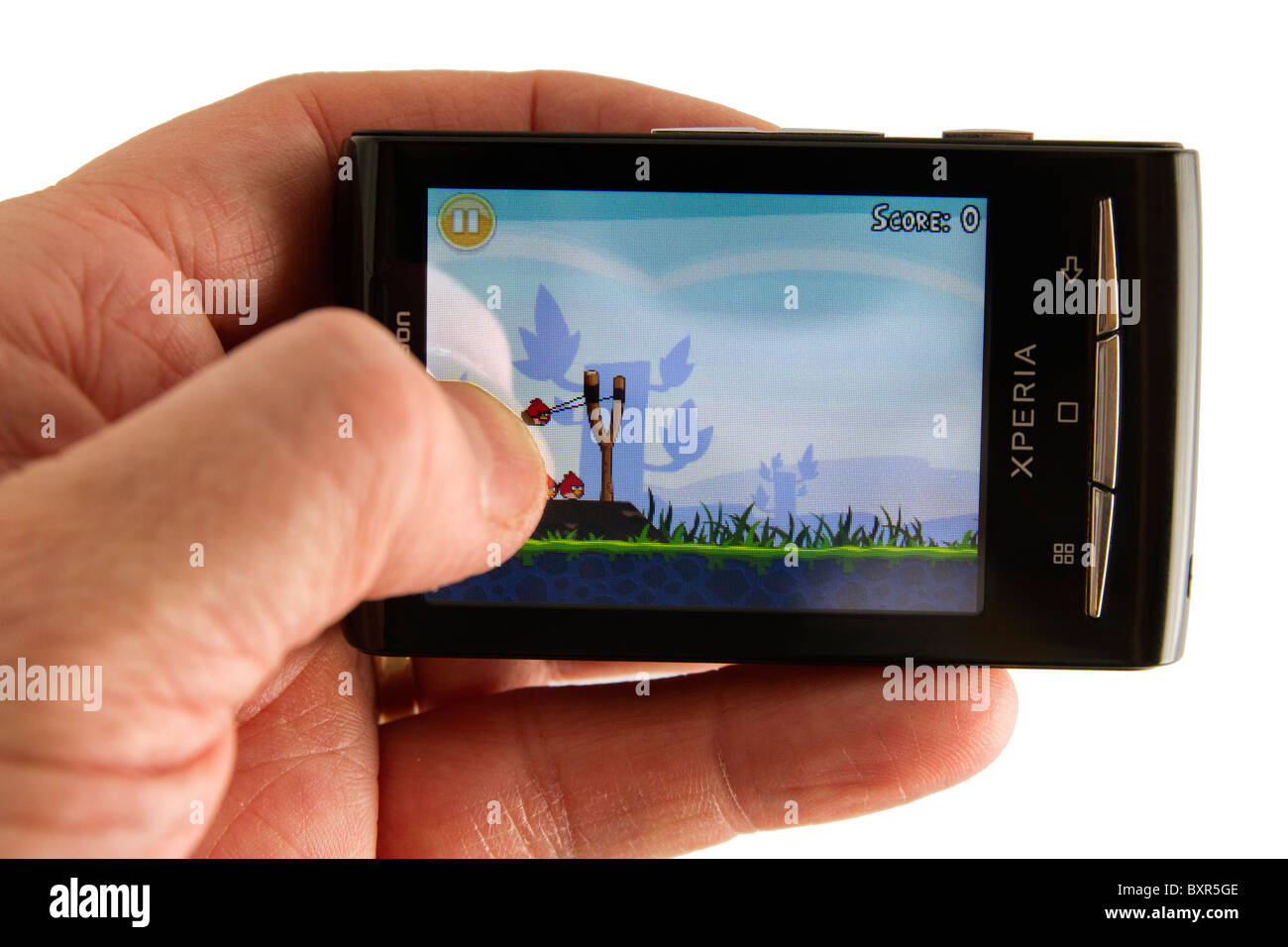 Phone Sony Ericson Android Phone hand holding the android phone sony ericsson xperia x10 mini showing smash hit game angry birds by rovio