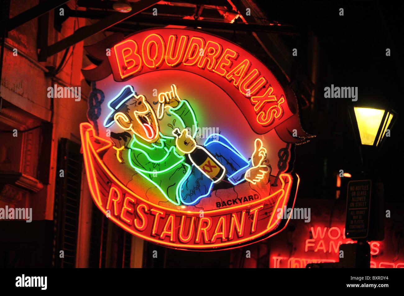 Boudreauxu0027s Backyard Restaurantu0027 Neon Sign On Bourbon Street, French  Quarter, New Orleans, Louisiana