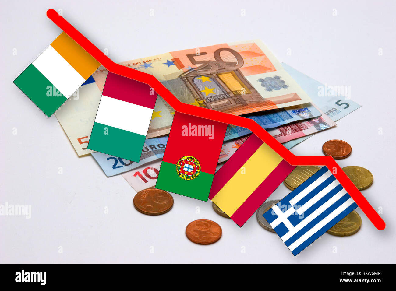 Currency crisis of the eur symbol picture for the loss in value of currency crisis of the eur symbol picture for the loss in value of the euro with flags of the so called pigs states piggs biocorpaavc Images