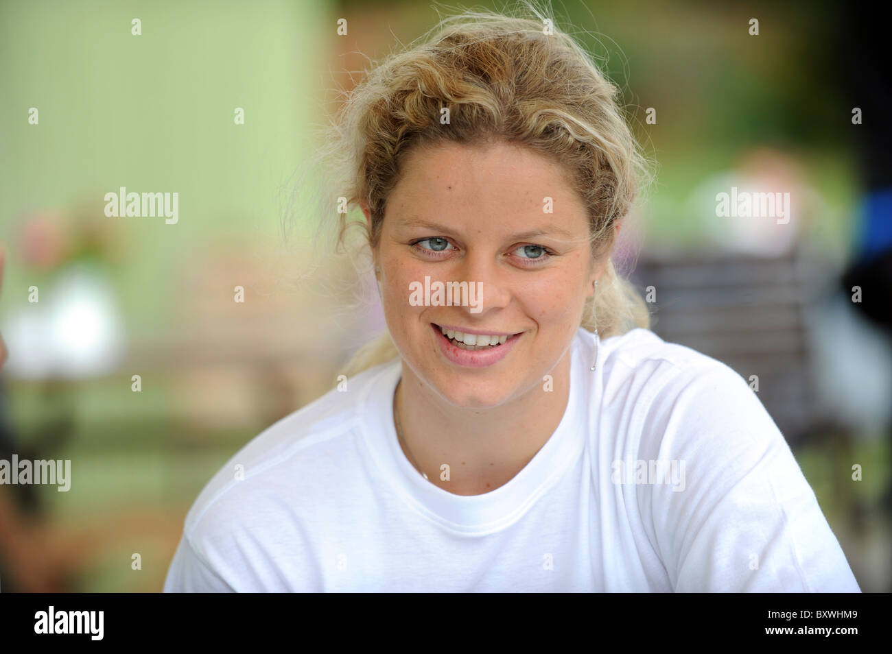 Belgian professional tennis player Kim Clijsters looking relaxed